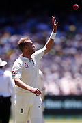 Stuart Broad receives the ball back during the Magellan fourth test match between Australia v England at  the Melbourne Cricket Ground, Melbourne, Australia on 26 December 2017. Photo by Mark  Witte.