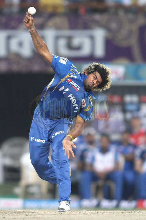 Lasith Malinga of the Mumbai Indians sends down a delivery during match 58 of the the Indian Premier League (IPL) 2012  between The Kolkata Knight Riders and The Mumbai Indians held at the Eden Gardens Stadium in Kolkata on the 12th May 2012..Photo by Shaun Roy/IPL/SPORTZPICS
