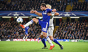 Cesar Azpilicueta controls the ball under pressure Aleksandar Dragovic during the Champions League group stage match between Chelsea and Dynamo Kiev at Stamford Bridge, London, England on 4 November 2015. Photo by Michael Hulf.