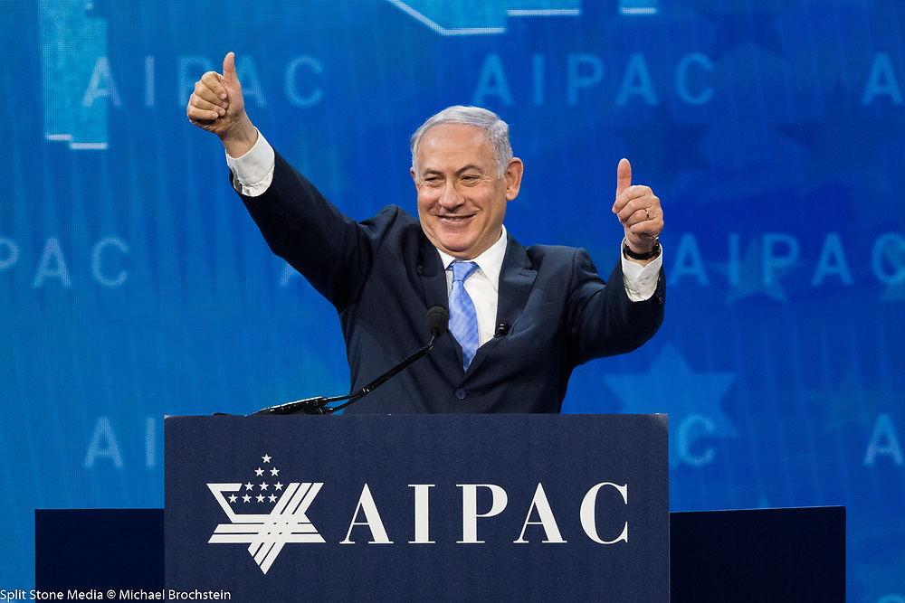 "Benjamin ""Bibi"" Netanyahu, Prime Minister of Israel, speaking at the AIPAC (American Israel Public Affairs Committee) Policy Conference at the Walter E. Washington Convention Center in Washington, DC on March 6, 2018"