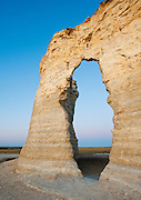 Keyhole Arch at Monument Rocks, Kansas. Monument Rocks are composed of the Smoky Hill Chalk member of the Cretaceous Niobrara Formation.