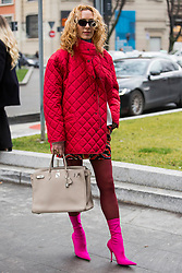 Fashion: street style at Milan Fashion Week 2018 outside of the Giorgio Armani show in Milan on February 24, 2018. 24 Feb 2018 Pictured: Street style at Milan Fashion Week 2018 outside of the Giorgio Armani show in Milan on February 24, 2018. Photo credit: Stefano Costantino / MEGA TheMegaAgency.com +1 888 505 6342