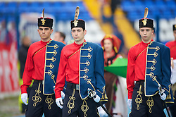 OSIJEK, CROATIA - Sunday, May 23, 2010: Croatian military in traditional dress before the International Friendly match between Croatia and Wales at the Stadion Gradski Vrt. (Pic by David Rawcliffe/Propaganda)