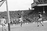 Players on both teams jump to hit the ball during the All Ireland Senior Gaelic Football Championship Final Dublin V Galway at Croke Park on the 22nd September 1974. Dublin 0-14 Galway 1-06.