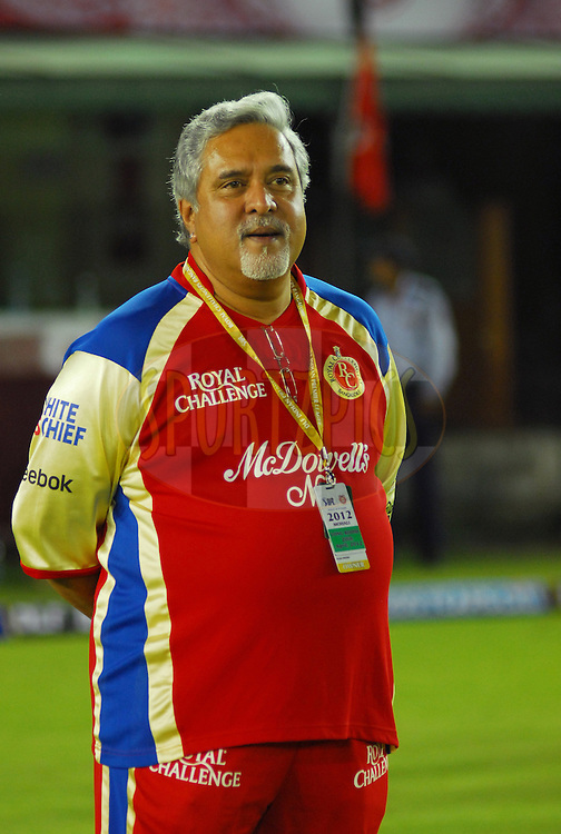 RCB owner Vijay mallya during match 25 of the the Indian Premier League ( IPL) 2012  between The Kings X1 Punjab and The Royal Challengers Bangalore India held at the Punjab Cricket Association Stadium, Mohali on the 20th April 2012..Photo by Arjun Panwar/IPL/SPORTZPICS