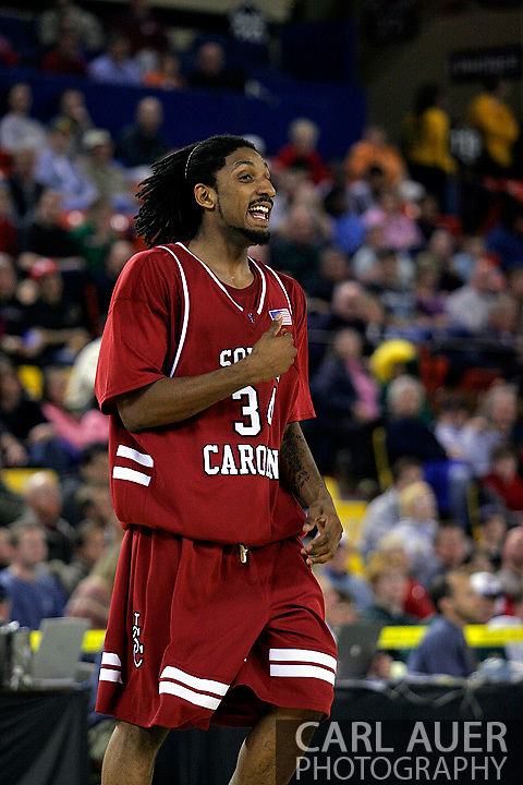 24 November 2005:Junior forward Renaldo Balkman (34) from the University of South Carolina in the Gamecock's 65 - 60 victory over the University of Alaska Anchorage Seawolves in the first round of the Great Alaska Shootout at the Sullivan Arena in Anchorage Alaska.