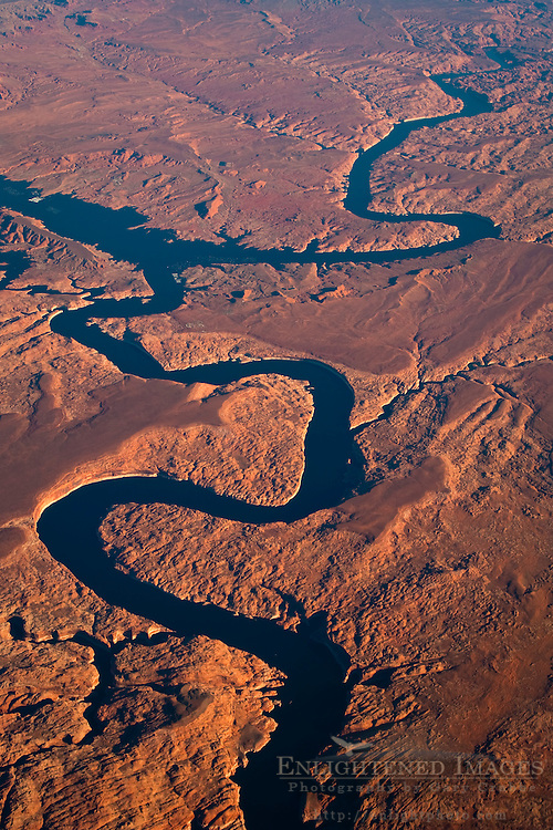 Aerial view over the Colorado River meandering through the high desert of Utah