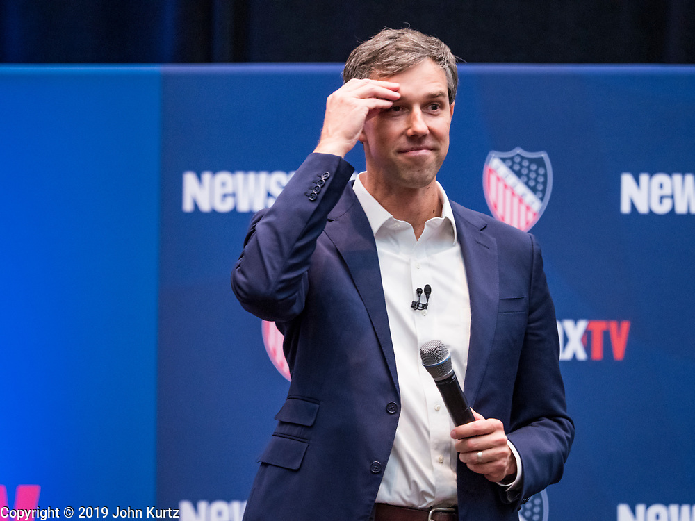 24 OCTOBER 2019 - DES MOINES, IOWA: Former Congressman BETO O'ROURKE (D-TX) speaks at the LULAC NewsMax TV Presidential Town Hall for Democratic candidates in Des Moines. Julián Castro, Beto O'Rourke, and Bernie Sanders addressed the crowd during the Town Hall, while Tulsi Gabbard appeared via a prerecorded video link. The co-moderators for the Town Hall were Newsmax TV's John Bachman and Spectrum News 1's Annette Garcia.                      PHOTO BY JACK KURTZ