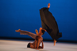 ©London News Pictures. 23/05/201. Rambert Dance Company present 'Roses' by Paul Taylor, as part of their Spring Season at Sadler's Wells Theatre. For its second première of the season, the Company turns to an American choreographer who needs no introduction - Paul Taylor. This is the UK revival premier of 'Roses' and marks the second time that Taylor's choreography has been seen in Rambert's repertoire, the first being Airs in 1982. Picture shows: Antonette Dayrit & Miguel Altunaga. Photo credit should read Tony Nandi/London News Pictures