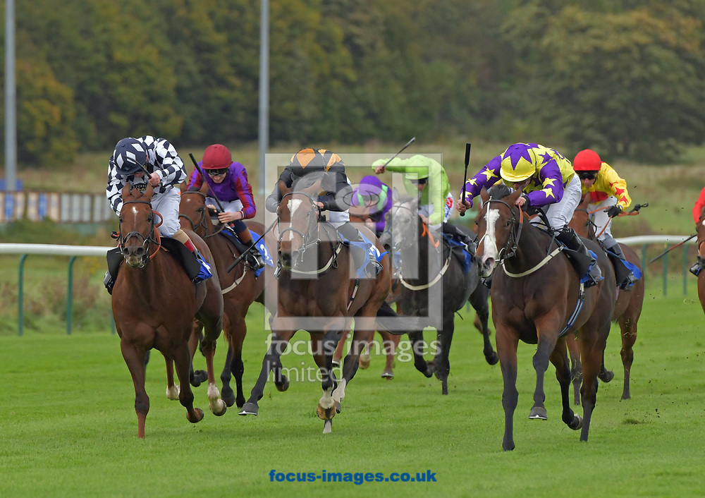 Daddies Girl ridden by Steve Drowne (yellow and purple) wins Jockey Club Grassroots Nursery Series handicap Final during the afternoon meeting at Nottingham Racecourse, Nottinghamshire.<br /> Picture by Martin Lynch/Focus Images Ltd 07501333150<br /> 04/10/2017