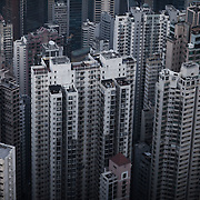 The view of tower blocks in Hong Kong Central, seen from Victoria Peak.<br />