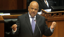 CAPE TOWN, Feb. 24, 2016 (Xinhua) -- South African Finance Minister Pravin Gordhan delivers his national budget speech?in Parliament in Cape Town, South Africa, on Feb. 24, 2016. South Africa will accelerate the pace of fiscal consolidation and reduce the budget deficit to 2.4 percent by 2018/19 against the background of slow growth, rising debt and higher interest rates, Finance Minister Pravin Gordhan said on Wednesday.?(Xinhua/DOC/Kopano Tlape) (Credit Image: © Zhai Jianlan/Xinhua via ZUMA Wire)