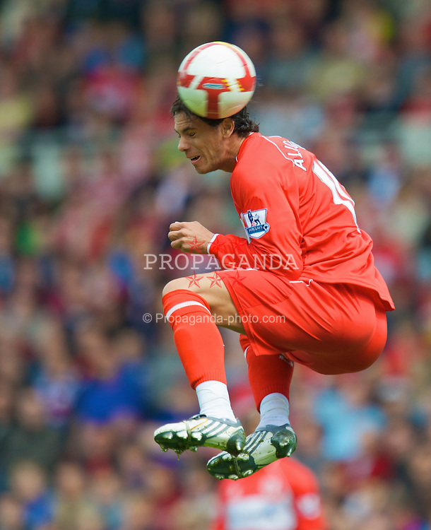 MIDDLESBROUGH, ENGLAND - Saturday, May 2, 2009: Middlesbrough's Jeremie Aliadiere in action against Manchester United during the Premiership match at the Riverside Stadium. (Pic by David Rawcliffe/Propaganda)