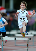 20 Aug 2016:  Lucy Doheny, from Kildare, during Girls U10 Hurdles heat.  2016 Community Games National Festival 2016.  Athlone Institute of Technology, Athlone, Co. Westmeath. Picture: Caroline Quinn