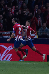 October 27, 2018 - Madrid, Madrid, Spain - Godin (L) celebrates his goal..during the match between Atletico de Madrid vs Real Sociedad. Atletico de Madrid won by 2 to 0 over Real Sociedad whit goals of Godin and Filipe Luis. (Credit Image: © Jorge Gonzalez/Pacific Press via ZUMA Wire)