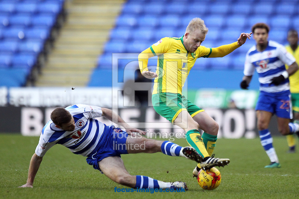 Steven Naismith of Norwich is fouled by Joey van den Berg of Reading during the Sky Bet Championship match at the Madejski Stadium, Reading<br /> Picture by Paul Chesterton/Focus Images Ltd +44 7904 640267<br /> 26/12/2016