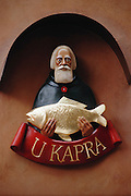 Sign on a fish restaurant in Prague, Czech Republic.