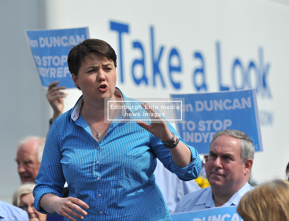 Scottish tory leader Ruth Davidson campaigns in Perth with local candidate Ian Duncan in the run up to the General Election.<br /> <br /> © Dave Johnston/ EEm