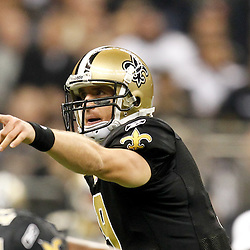 November 28, 2011; New Orleans, LA, USA; New Orleans Saints quarterback Drew Brees (9) against the New York Giants during the second quarter of a game at the Mercedes-Benz Superdome. Mandatory Credit: Derick E. Hingle-US PRESSWIRE