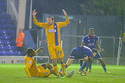 Oldham Athletic forward Daniel Philliskirk  scores during the The FA Cup first round match between Oldham Athletic and Mansfield Town at Boundary Park, Oldham, England on 17 November 2015. Photo by Simon Davies.