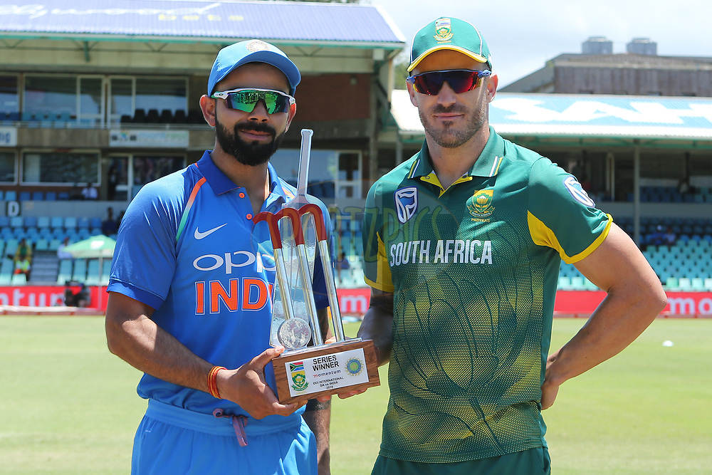 Virat Kohli (captain) of India and Faf du Plessis(c) of South Africa with the series trophy  during the 1st One Day International match between South Africa and India held at Kingsmead Cricket Ground in Durban on the 1st feb 2018 <br /> <br /> Photo by Ron Gaunt / BCCI / SPORTZPICS