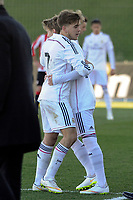 Real Madrid Castilla´s Martin Odegaard and Alvaro during 2014-15 Spanish Second Division match between Real Madrid Castilla and Athletic Club B at Alfredo Di Stefano stadium in Madrid, Spain. February 08, 2015. (ALTERPHOTOS/Luis Fernandez)