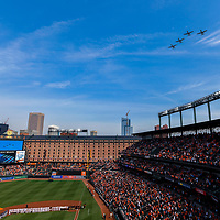 BALTIMORE, MD - MARCH 29: Planes fly over prior to the Opening Day game between the Minnesota Twins and the Baltimore Orioles on March 29, 2018, at Orioles Park at Camden Yards in Baltimore, MD.  (Photo by Mark Goldman/Icon Sportswire)