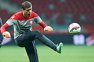Poland's goalkeeper Wojciech Szczesny kicks the ball during official training one day before the EURO 2016 qualifying match between Poland and Germany on October 10, 2014 at the National stadium in Warsaw, Poland<br /> <br /> Picture also available in RAW (NEF) or TIFF format on special request.<br /> <br /> For editorial use only. Any commercial or promotional use requires permission.<br /> <br /> Mandatory credit:<br /> Photo by © Adam Nurkiewicz / Mediasport