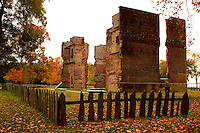 A view of the Ambler house ruins in the National Historical Park in Jamestown Virginia.
