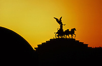 The goddess Victoria riding on quadrigas atop the Vittorio Emanuele II Monument, Rome, Italy