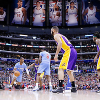 06 April 2014: Los Angeles Clippers guard Chris Paul (3) drives past Los Angeles Lakers guard Jodie Meeks (20) on a screen set by Los Angeles Clippers center DeAndre Jordan (6) during the Los Angeles Clippers 120-97 victory over the Los Angeles Lakers at the Staples Center, Los Angeles, California, USA.