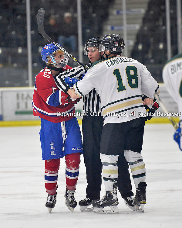 COBOURG, ON  - MAR 4,  2017: Ontario Junior Hockey League, playoff game between the Cobourg Cougars and the Kingston Voyageurs. Anthony Firriolo #5 of the Kingston Voyageurs and Josh Cammalleri #18 of the Cobourg Cougars exchange words during the third period.  <br /> (Photo by Shawn Muir / OJHL Images)