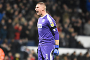 West Bromwich Albion goalkeeper Sam Johnstone (1) celebrates the third WBA goal during the EFL Sky Bet Championship match between West Bromwich Albion and Leeds United at The Hawthorns, West Bromwich, England on 10 November 2018.