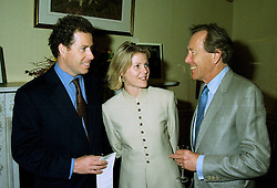 Left to right, VISCOUNT & VISCOUNTESS LINLEY and the EARL OF SNOWDON at a party in London on 17th July 1997.MAK 29