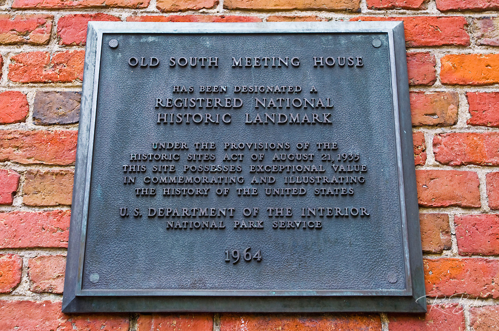 Historic plaque at the Old South Meeting House on the Freedom Trail, Boston, Massachusetts