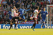 Sunderland midfielder Jan Kirchhoff (27)  and Leicester City midfielder NGolo Kante (14)  during the Barclays Premier League match between Sunderland and Leicester City at the Stadium Of Light, Sunderland, England on 10 April 2016. Photo by Simon Davies.