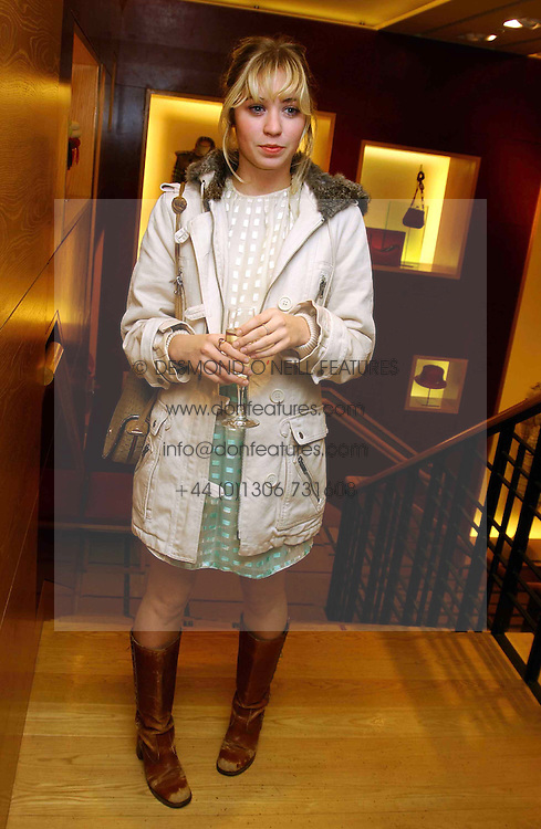 MISS ANOUSKA GERHAUSER daughter of Tamara Beckwith  at a party hosted by Burberry to launch their special collection in aid of Breakthrough Breast Cancer, held at 21-23 New Bond Street, London W1 on 5th October 2004.<br /><br />NON EXCLUSIVE - WORLD RIGHTS