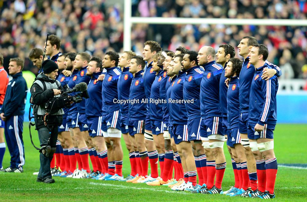01.02.2014. Stade de France, Paris, France. 6 Nations International Rugby Union. France versus England. The team of France