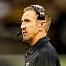 September 9, 2012; New Orleans, LA, USA; New Orleans Saints defensive coordinator Steve Spagnuolo during the second half of a game against the Washington Redskins at the Mercedes-Benz Superdome. The Redskins defeated the Saints 40-32. Mandatory Credit: Derick E. Hingle-US PRESSWIRE