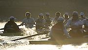 Putney LONDON. Oxford University Boat Club vs German U23 Crew, Pre Boat Race Fixture. Championship Course, River Thames;  Greater London, Saturday  - 08/03/2014  [Mandatory Credit Peter Spurrier/ Intersport Images],<br /> <br /> OUBC Crew, Bow: Storm URU, 2:Chris  FAIRWEATHER, 3:Karl HUDSPITH, <br /> 4:Tom SWARTZ, 5: Malcolm HOWARD, 6:Mike DI SANTO, 7:Sam  O'CONNOR Stroke:  Stan LOULOUDIS<br /> Cox: Laurence  HARVEY