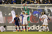 Glen Moss makes a save (L to R) <br /> Yasuhito Endo, <br /> Eiji Kawashima (JPN), <br /> MARCH 5, 2014 - Football /Soccer : <br /> Kirin Challenge Cup 2014<br /> between Japan 4-2 New Zealand <br /> at National Stadium, Tokyo, Japan. <br /> (Photo by YUTAKA/AFLO SPORT)