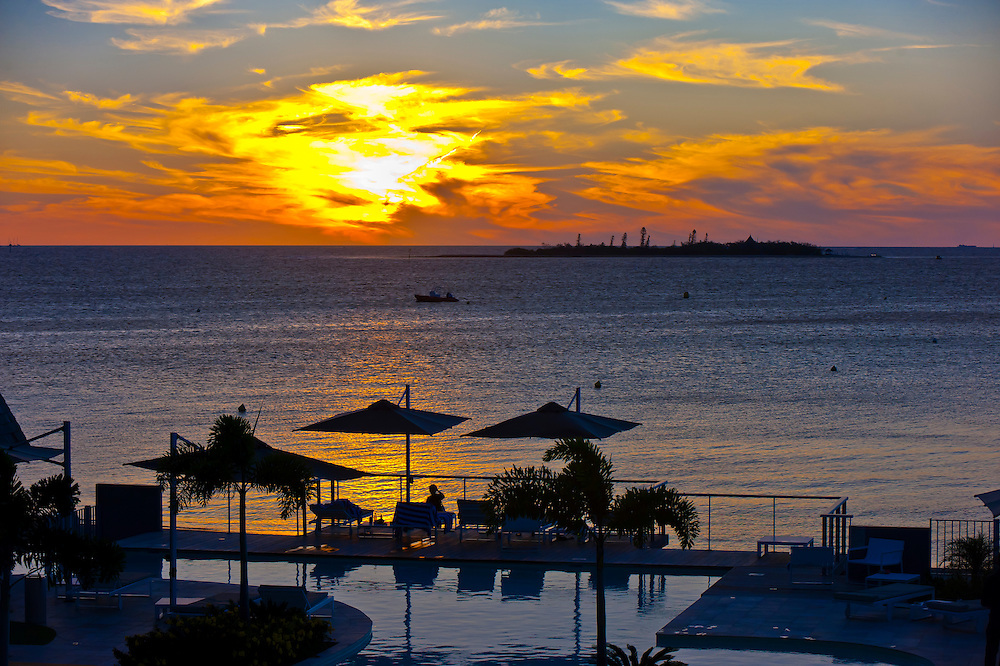 Sunset, Royal Terra Beach Resort Hotel, Noumea, Grand Terre, New Caledonia