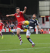 Aberdeen&rsquo;s Andrew Considine and Dundee's Kane Hemmings - Aberdeen v Dundee at Pittodrie<br /> - Ladbrokes Premiership<br /> <br />  - &copy; David Young - www.davidyoungphoto.co.uk - email: davidyoungphoto@gmail.com