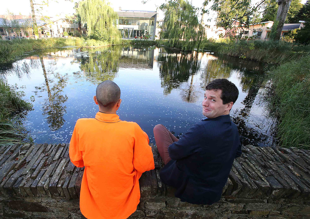 22/09/2012. Features. Irish Times Brian O'Connell with Shaolin Master Zheng at Monart Spa, Enniscorthy, Co. Wexford. Photo Patrick Browne