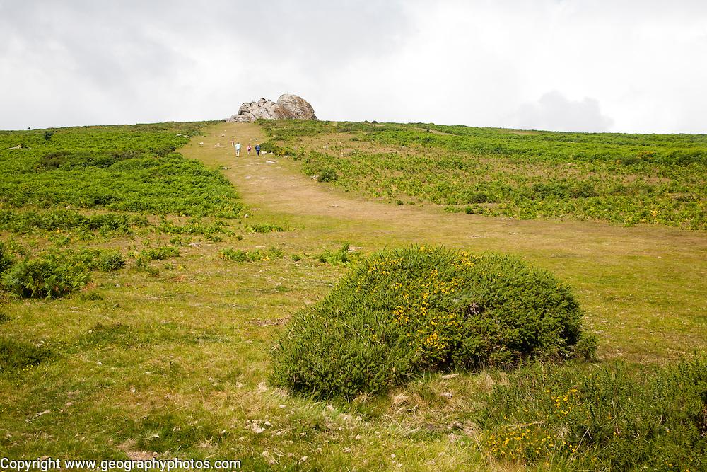Granite tor of Haytor, Dartmoor national park, Devon, England, UK