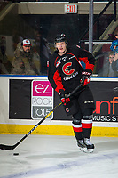 KELOWNA, BC - FEBRUARY 08: Cole Beamin #3 of the Prince George Cougars warms up with the puck against the Kelowna Rockets at Prospera Place on February 8, 2019 in Kelowna, Canada. (Photo by Marissa Baecker/Getty Images)