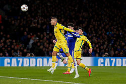 Mauricio of Sporting heads clear from Diego Costa of Chelsea - Photo mandatory by-line: Rogan Thomson/JMP - 07966 386802 - 10/12/2014 - SPORT - FOOTBALL - London, England - Stamford Bridge - Sporting Clube de Portugal - UEFA Champions League Group G.