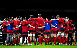 Wales huddle before the captains run<br /> <br /> Photographer Simon King/Replay Images<br /> <br /> Six Nations Round 1 - Wales v Italy -  Captains Run - Friday 31st January 2020 - Principality Stadium - Cardiff<br /> <br /> World Copyright © Replay Images . All rights reserved. info@replayimages.co.uk - http://replayimages.co.uk