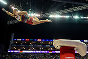 Fabian Hambuchen of Germany does the 'superman' off of the vault during the The Superstars of Gymnastics event at the O2 Arena, London, United Kingdom on 23 March 2019.