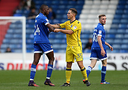 Charlie Colkett of Bristol Rovers and Ousmane Fane of Oldham Athletic confront each other - Mandatory by-line: Robbie Stephenson/JMP - 22/10/2016 - FOOTBALL - Sportsdirect.com Park - Oldham, England - Oldham Athletic v Bristol Rovers - Sky Bet League One